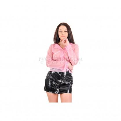 PVC dámská minisukně do pasu s předním zapínáním