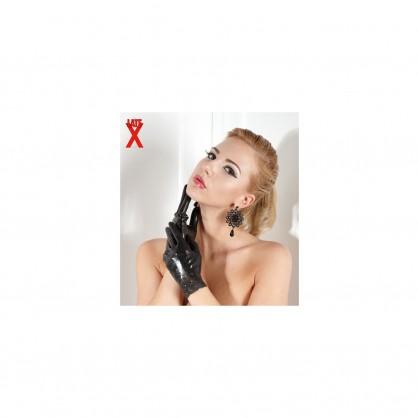 Latexové dámské krátké rukavice s krajkou