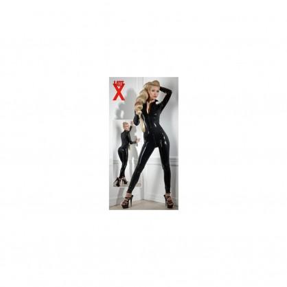 Latexový dámský catsuit s předním zipem a dlouhým rukávem