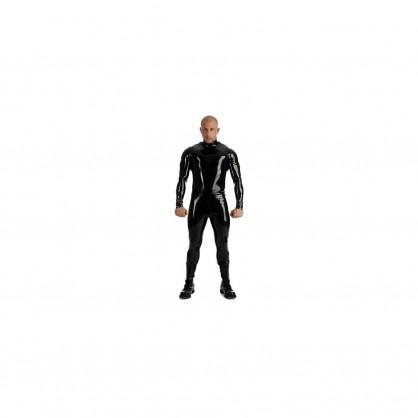 Latexový pánský černý catsuit se stojáčkem a zadním zipem