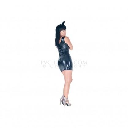 Latexové dámské šaty na ramínka v barvě černé