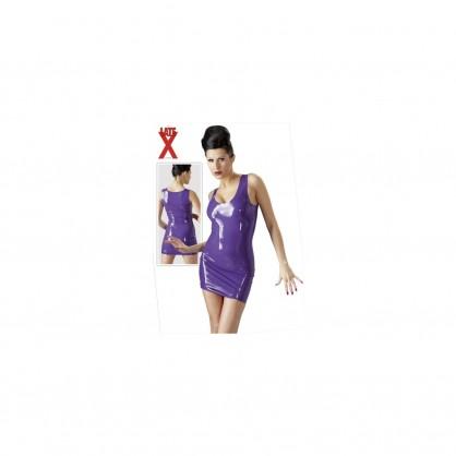Latexové šaty na ramínka s výstřihem v barvě fialové
