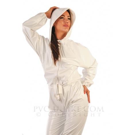 Bílý PVC catsuit s kapucí a s dlouhým rukávem