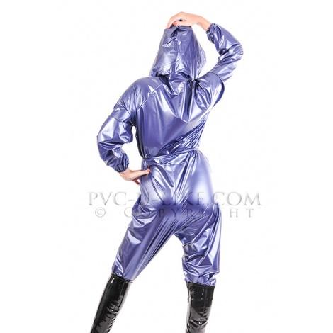 Modrý PVC catsuit s kapucí a s dlouhým rukávem