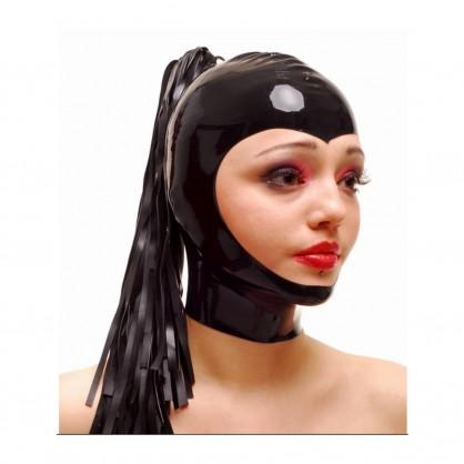 Černá latexová dámská maska s dlouhým ohonem