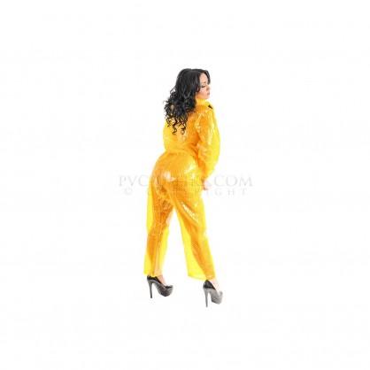 PVC dvojdílný rainsuit s kapucí ve žluté barvě