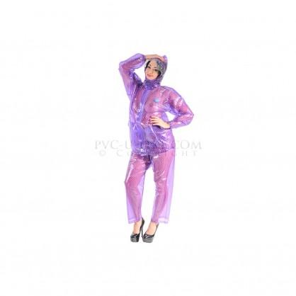 PVC dvojdílný rainsuit s kapucí ve fialové barvě