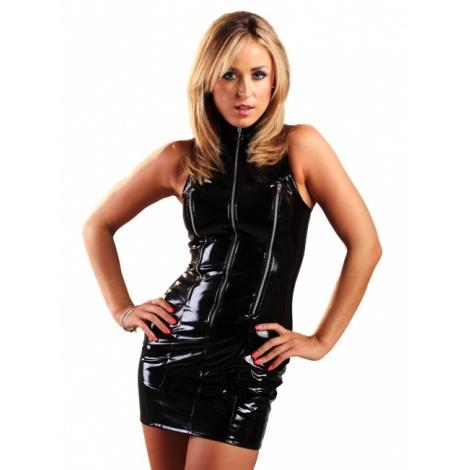 Lakové dámské šaty se třemi zipy v předu