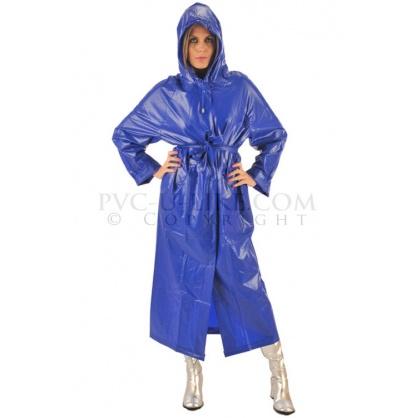 PVC dlouhý kabát s kapucí v barvě modré