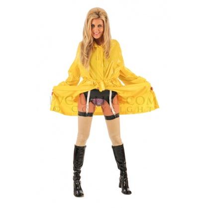 PVC dlouhý kabát s kapucí v barvě žluté