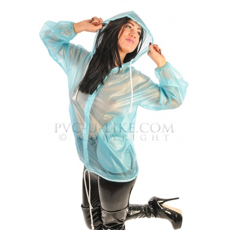 PVC dámská bunda se stahovací kapucí