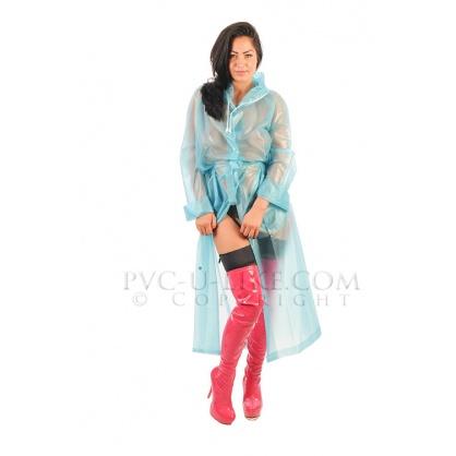 PVC dlouhý kabát s kapucí v barvě Aqua transparentní