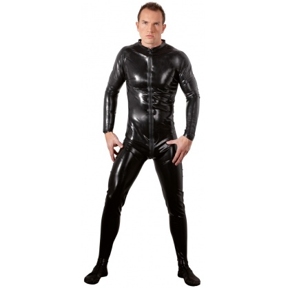 Černý latexový catsuit s předním zipem a dlouhým rukávem