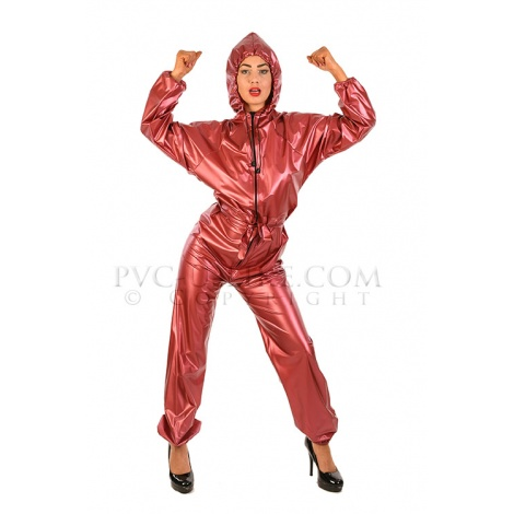 Vínový PVC catsuit s kapucí,dlouhým rukávem a předním zipem