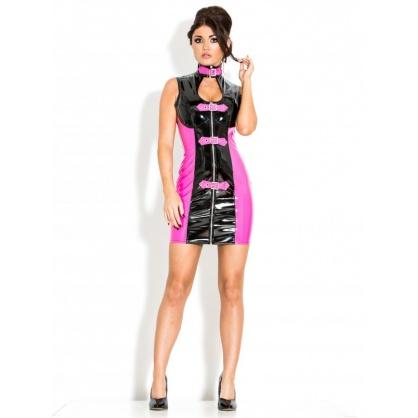 Lakové dámské šaty s předním zipem v barvě černo-růžová