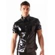 Laková sexy košile pro muže v černé barvě se zapínáním na patentky