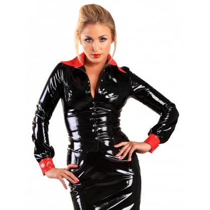 Laková halenka v černé barvě s kontrastním červeným stojáčkem