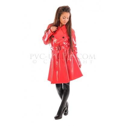 PVC dámský retro kabát do deště s předním zapínáním