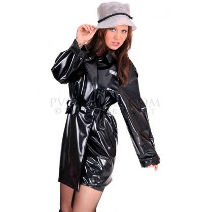 PVC dámský kabát s velkým límcem