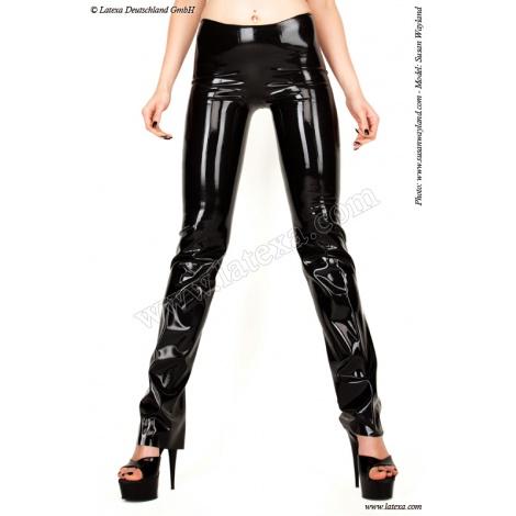 Latexové dámské kalhoty nad kotníky mírně rozšířené