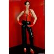 Latexové dámské džíny s patentkou vpředu a zpevněným pasem