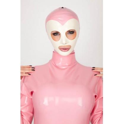 Latexová maska s kontrastním obličejem a kontrastním lemováním kolem otvorů