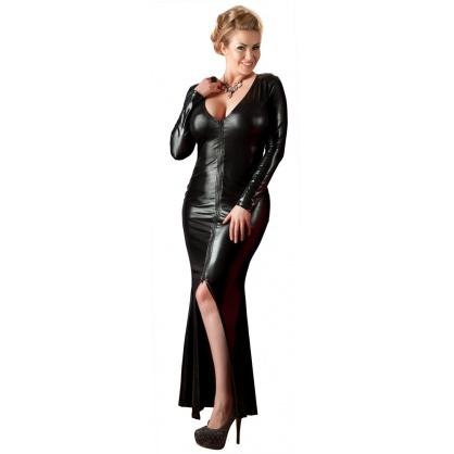 Svůdné lycrové šaty s předním zipem a svůdným rozparkem (Wetlook)