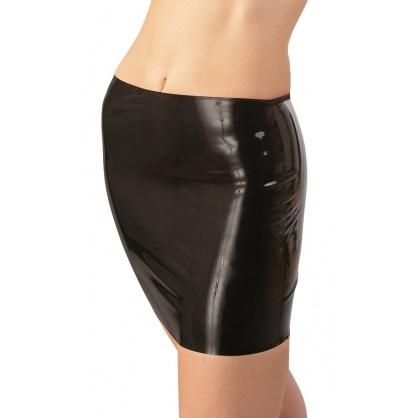 Latexová sukně jednoduchého střihu v černé barvě