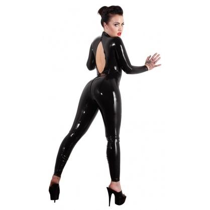 Latexový dámský catsuit s výstřihem na zádech