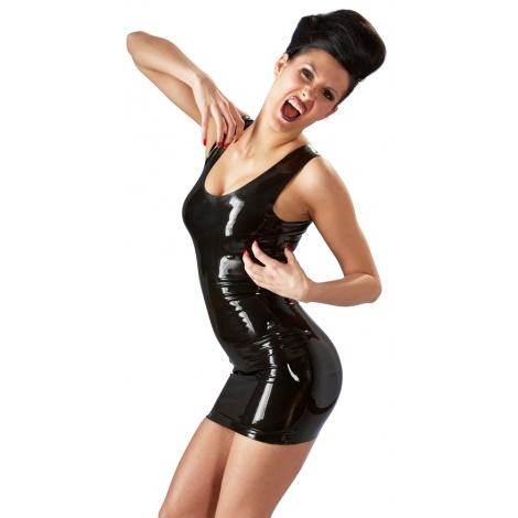 Latexové šaty na ramínka s hlubokým výstřihem