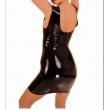 Latexové dámské černé šaty bez rukávů se zipem