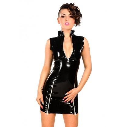 Černé latexové šaty se stojáčkem a předními zipy