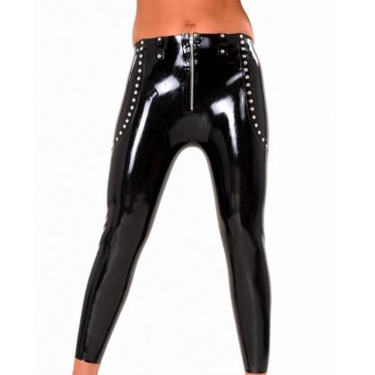 Dámské latexové bokové kalhoty s předním zipem