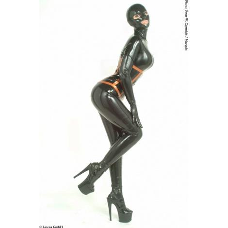 Dámský černý latexový catsuit se zipem v rozkroku