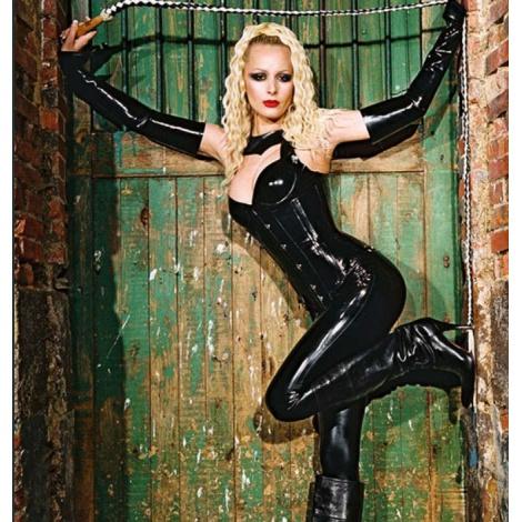 Luxusní dámské černé legíny se zipem v rozkroku
