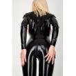 Latexový černý dámský catsuit s otvory pro prsa a zadním zipem