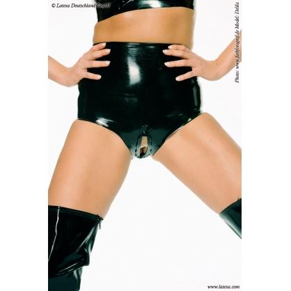 Latexové vysoké kalhotky s otevřeným rozkrokem