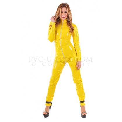 PVC dámský catsuit se stojáčkem a předním zipem v barvě žluté