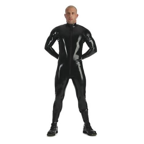 Latexový pánský catsuit s 3 - cestným zipem