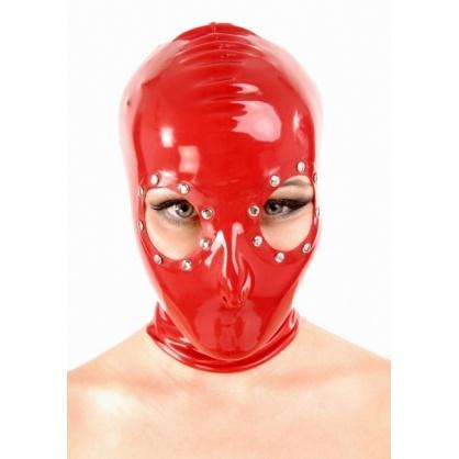 Latexová maska s cvočky okolo očí se zadním zipem