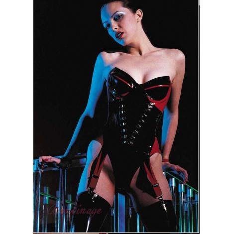 Latexový černo-červený luxusní korzet na prsa s podvazky